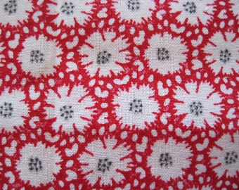 Red and White Flower Print Fabric