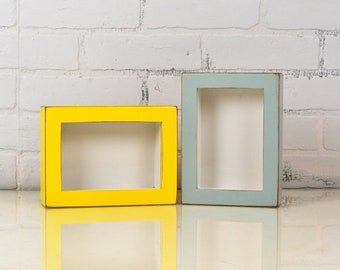 "Handmade Small Shadow Box Frame - Holds up to 4 x 6 x 1.25 inches Deep - In Finish COLOR of YOUR CHOICE - 4 x 6"" Shadow Box Frame"
