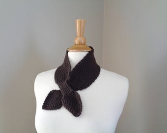 Dark Brown Ascot Scarf, Alpaca Blend, Pull Through Keyhole, Small Neck Scarf, Hand Knit Neck Warmer