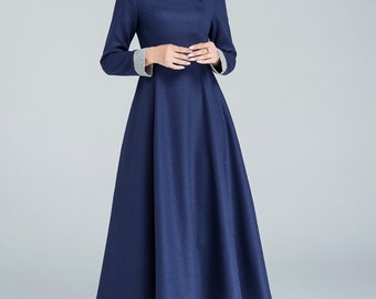 blue wool dress, maxi dress, winter dress, party dress, modern dress, ladies dresses, custom made dress, plus size clothing  1611