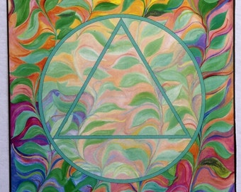 AA Unity Sobriety Symbol Wholeness Motivational Recovery Inspirational Sponsor Gift Family Friend of Bill Heartful Art by Raphaella Vaisseau