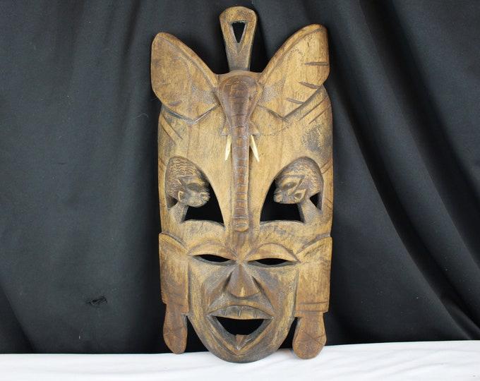 Vintage Carved Wood African Kenya Tribal Mask Elephant and Profile Heads