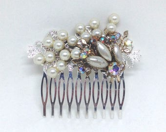 Vintage Brooch Pin Lucite Pearl Flower Blue Rhinestone AB Leaf Haircomb