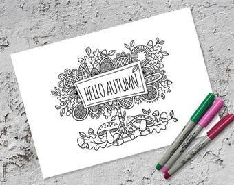 Hello Autumn Colouring Page | Instant Digital Download | Original Doodle Design