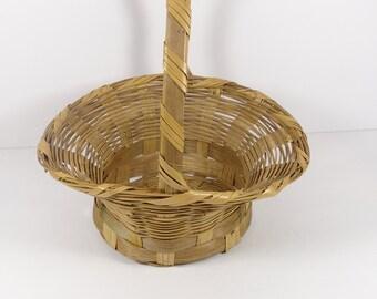 Wicker Easter Basket, 1960s Mexico Spring Decor Vintage Easter Basket B50