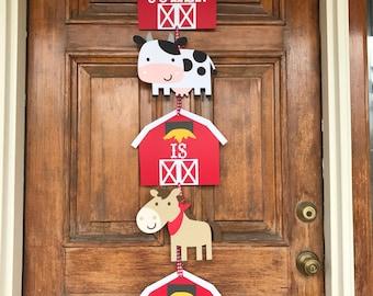 Farm Door Sign - Farm Birthday - Farm Banner - First Birthday - Barnyard Bash - Farm Birthday Banner - Farm Party - Farm Theme