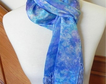 Crepe silk scarf with fringe hand dyed shades of purple and turquoise blue, crepe silk scarf #415, ready to ship