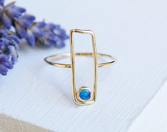 Opal Ring, Gold Ring, Gold Opal Ring, Solid Gold Ring, Stacking Ring, Dainty Ring, Opal Jewelry, Gemstone Ring, Stacking Ring, 9ct Gold Ring