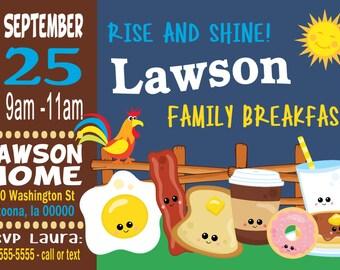 Breakfast Family Reunion Invitation Digital File Print at Home