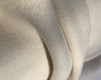 """56"""" Ivory Cream 100% Pure Wool Heavy Weight Woven Fabric By the Yard"""