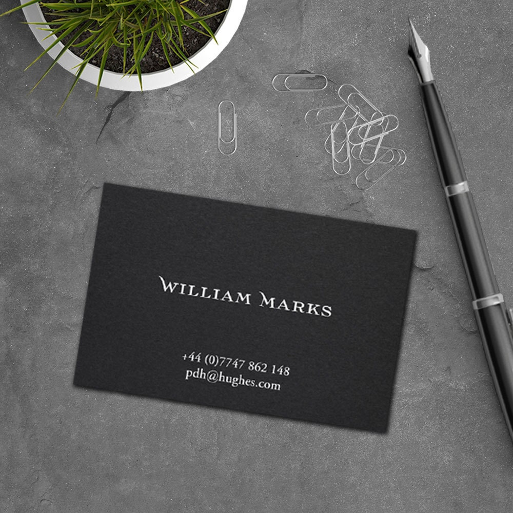Traditional Business Cards Grey Business Cards White Ink