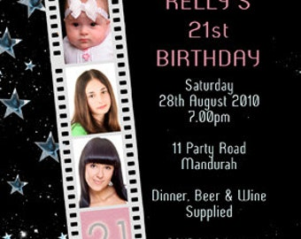 Photo Personalised  Filmstrip Birthday Invitations 18th 21st 30th 40th - You Print