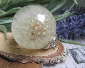 Sterling silver, resin jewelry, Dandelion necklace, anniversary gift, nature necklace, wish necklace, resin necklace, eco resin jewelry
