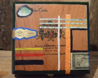 Vintage Cigar Box with Decoupage (Fuente don Carlos)