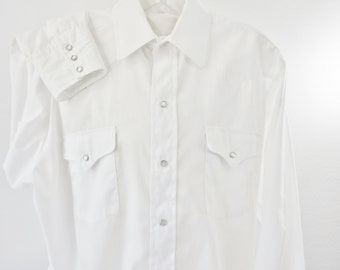 Panhandle Slim White Pearl Snap Shirt 4 Snap Cuff 16 Neck