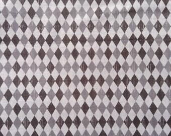 One Fat Quarter of Fabric Material - Shaded Gray Diamond, Harlequin Diamond