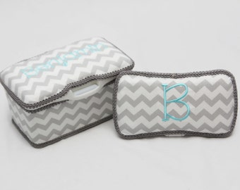 Personalized Wipes Case Tub and Travel Wipes Case - Grey Chevron with Aqua