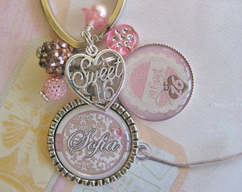 Personalized Sweet 16 keychain in old rose and light brown