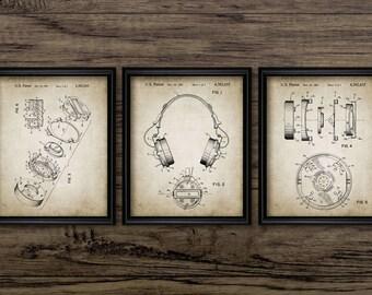 Headphones Patent Print Set Of 3 - Audio Headphones Design - Music Wall Art - Music Gift - Set of 3 #2268 - INSTANT DOWNLOAD