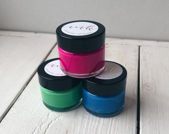 Ink Trio Green, Bright Blue and Bright Pink. Coloured Ink. Modern Calligraphy Inks. Handmade Inks. Ink Gift Set.