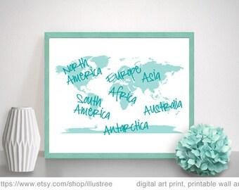 World map, teal and pink digital art prints, printable wall art, nursery art print, travel poster, 8x10, 11x 14, 16x20, instant download