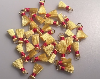 10pcs red and yellow tassel pendant charms jewelry making 0.5'' tiny tassels
