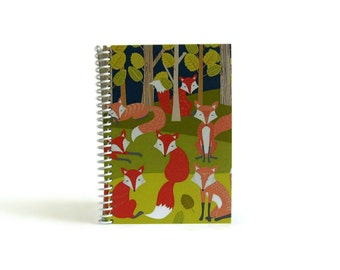 Foxes Notebook A6 Spiral Bound - Writing Journal, Blank Sketchbook, 4x6 Inches, Gifts Under 20, Back to School, Pocket Pretty Notebook