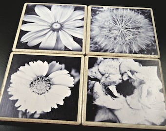 Set of Four Black and White Flower Tile Coasters
