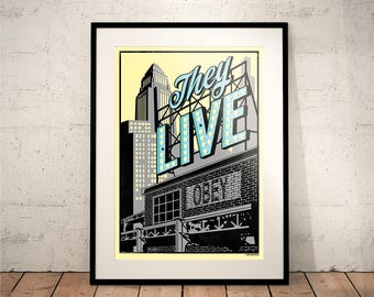 They Live (Movie Posters // Film Posters // Dorm Room Ideas // Wall Decor // obey // Cult // John Carpenter // Vintage // Prop)