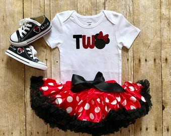 Minnie Mouse Birthday outfit, match your chucks. Birthday girl tutu and onesie Minnie and Mickey Ears first second birthday