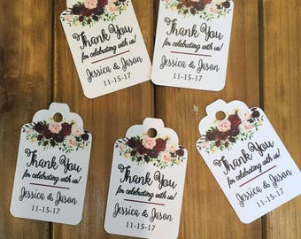 """Wedding favor tag, Thank you for celebrating with us, 2 11/16"""" x 1 3/4"""" - Printed (set of 25 tags) -  CB20012 - flower, roses, Any occasion"""