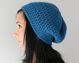 Ocean Blue Slouchy Beanie Hat,  Unisex Winter Accessories