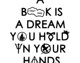 A Book is a Dream You Hold in Your Hands Reading Fandom Vinyl Decal - 12 x 12 - Your choice of color