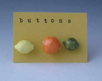 Buttons, Ceramic Buttons, Novelty Buttons, Fruit Buttons, Orange Buttons, Lemon Buttons, Lime Buttons