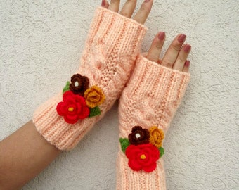 KNITTING PATTERN - Camila Mittens - Fingerless Gloves Knit Mittens with Crochet Flowers Romantic Love pdf Pattern Instant Download