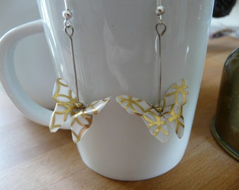 Origami butterflies paper white and gold earrings