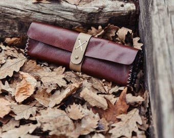 Brown Vegetable Tanned Leather Pencil Bag