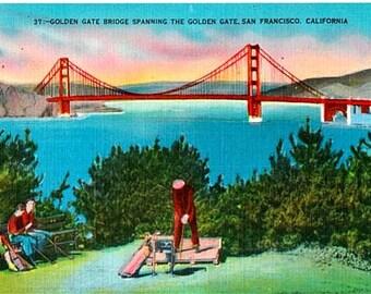 Vintage California Postcard - The Golden Gate Bridge and Golfing in San Francisco (Unused)