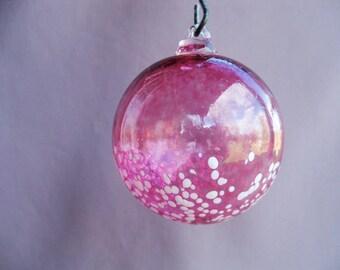 Hand Blown Art Glass Christmas Ornament/Ball/Suncatcher,Ruby Red & White Dots