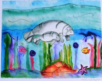 Manatees Watercolor, Manatees Painting, Manatees Print, Manatees Art, Manatees Children, Baby Nursery Art, Manatees Beach House, Manatees