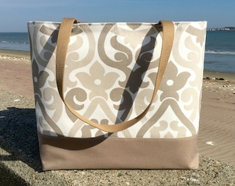 Large Tote, Extra Large Beach Bag, Weekend Bag, Teacher tote, Bridesmaid Bag, Diaper Bag, Tennis Bag in tan and white by Hot Pink Frosting