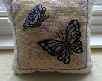 Needlepoint butterfly pillow.....vintage....yellow, blue, and lavender......wonderful condition