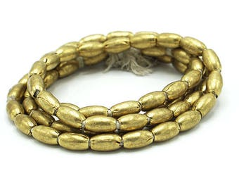 65 Oval Brass Handmade Ethiopian Beads (6x10mm) - Recycled Brass Hand-forged African Beads - Upcycle Beads -Tribal Trade Beads (105-ETH-MET)