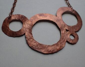 Hammered copper statement necklace