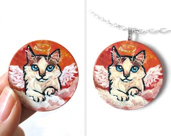 Ragdoll Cat Necklace, Pet Portrait, Pet Memorial Pendant, Hand Painted Wood Jewelry, Guardian Angel, Animal Painting, Rag Doll Gift for Her