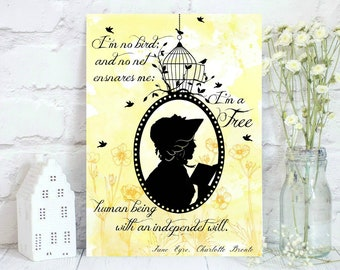 Jane Eyre silhouette with quote.