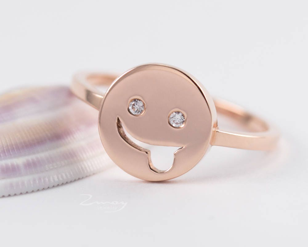 funny ring thin diamond ring Smiley Diamond gold ring