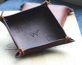 Leather Valet Tray; Monogrammed Valet Tray; Leather Catchall; Tooled Initials; Leather Tray; Third Anniversary Gift; Phone Holder