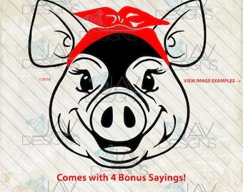Porkchop Pig Rosie SVG, Bandanna pig head, rosie the riveter, cut file, svg png dxf , pig face, farm girl