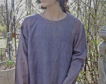 Men's Charcoal Blue Peasant Shirt